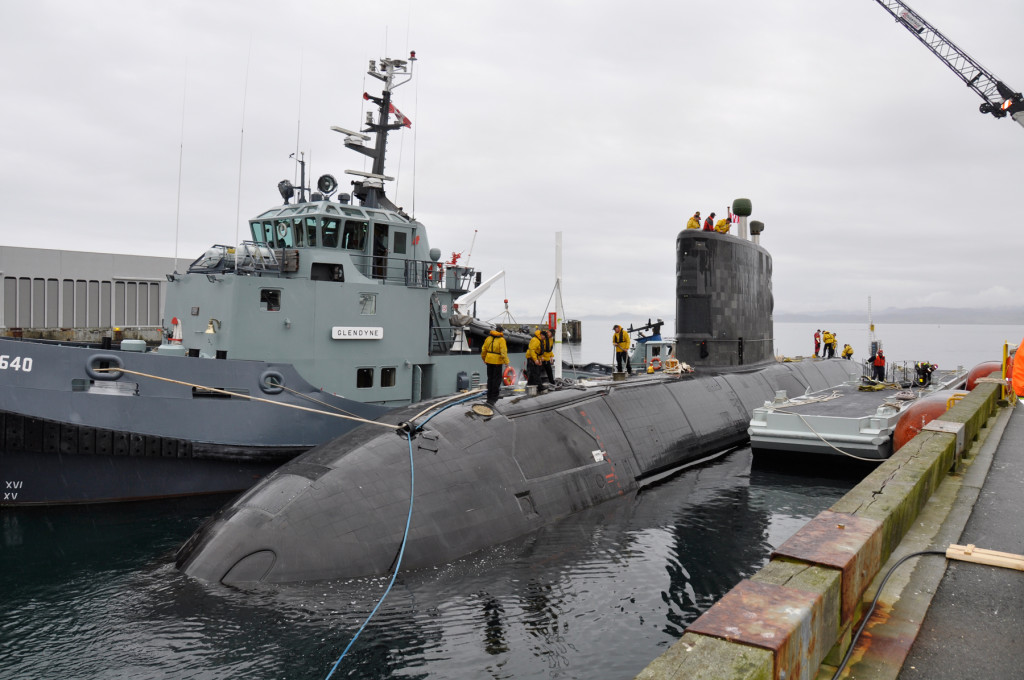 HMCS Chicoutimi under tow to Ogden Point April 16 to conduct a camber dive